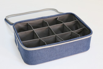 "Blue Twill 12-Section Organizer with Lid (Semi-Transparent lid) - 14""W x 10""D x 4""H"