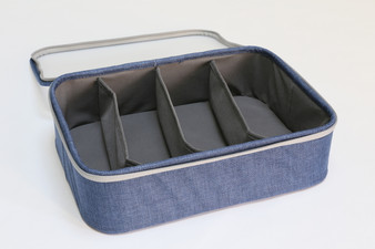 "Blue Twill 4-Section Organizer with Lid (Semi-Transparent lid) - 14""W x 10""D x 4""H"
