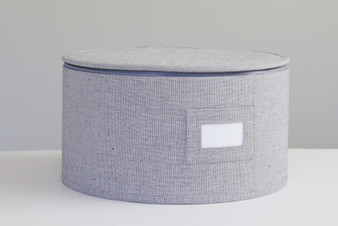 "Grey Twill Hard Shell(tm) Round China Plates Storage Container With Secure Lid (11.5"" ONLY!)"