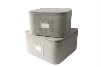 "Grey Twill Hard Shell(tm) Square China Plates Storage Container With Secure Lid (11.5"" and 9.5"" Set-2)"