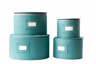In This Space Aqua Teal Hard Shell(tm) Round China Plates Storage Container With Secure Lid (Set of 4)