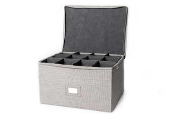 Gray Twill Chest For Stemware, Ornaments and  Plates