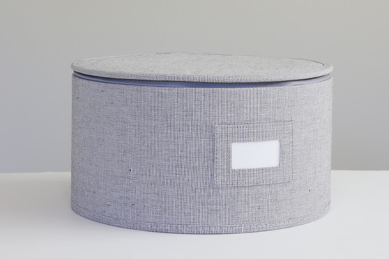 """Grey Twill Hard Shell(tm) Round China Plates Storage Container With Secure Lid (11.5"""" ONLY!)"""