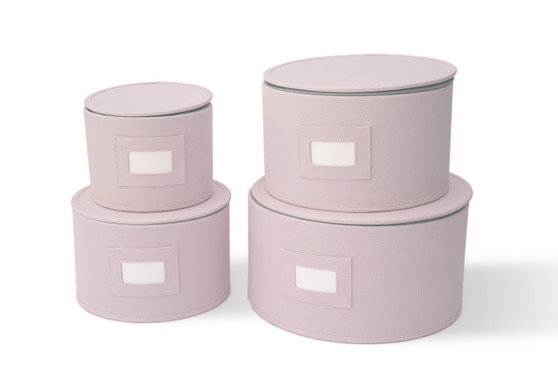 In This Space Pink Hard Shell(tm) Round China Plates Storage Container With Secure Lid (Set of 4)