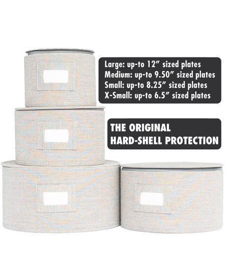In This Space Grey Twill Hard Shell(tm) Round China Plates Storage Container With Secure Lid (Set of 4)