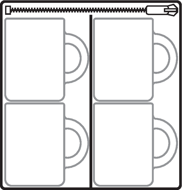 Hard Shell (tm) ORGANIZER FOR TALL CUPS, MUGS AND ORNAMENTS (4-DIVIDERS)