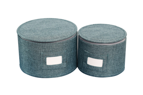 In This Space Teal Twill Hard Shell(tm) Round China Plates Storage Container With Secure Lid (Set of 2)