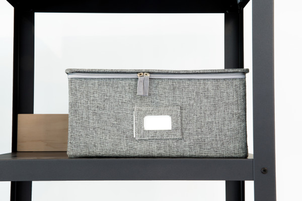 Large Gray Canvas Box with Zipper Lid