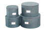 In This Space Teal Twill Hard Shell(tm) Round China Plates Storage Container With Secure Lid (Set of 4)