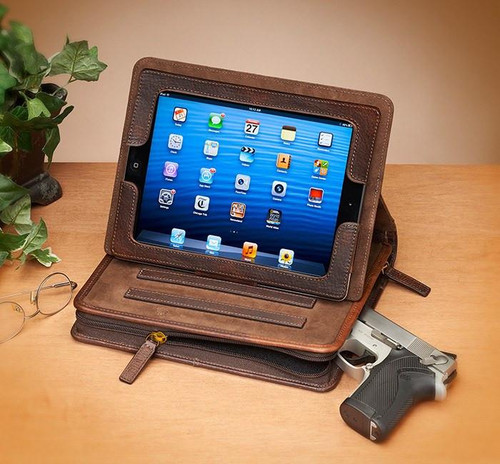 USA Bison Leather CCW iPad Case Brown