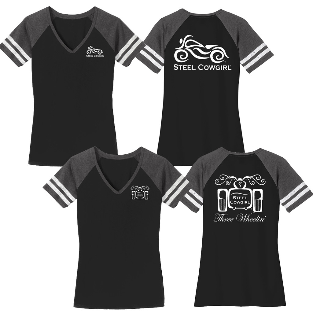 Steel Cowgirl Raglan V-Neck T-Shirt  w/ Classic Bike Or Trike Graphics (Graphics are protected by copyright laws, unauthorized use is prohibited)