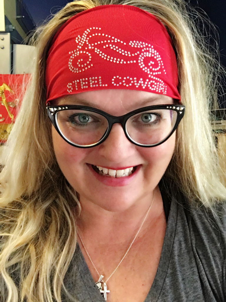 Red Performance Wicking Fabric Crystal Motorcycle Headwrap by Steel Cowgirl (graphics are protected by copyright laws, unauthorized use is prohibited)