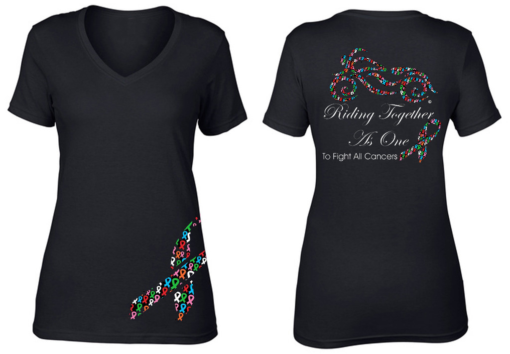 Riding Together As One To Fight All Cancers Short Sleeve V-Neck T-shirt by Steel Cowgirl (*Graphics are protected by Copyright laws, unauthorized use is prohibited)