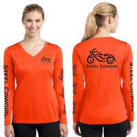 Neon Orange Wicking Long Sleeve Motorcycle V-Neck by Steel Cowgirl * Graphics are protected by copyright laws and Steel Cowgirl is a Registered Trademarked brand, unauthorized use is prohibited.