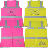 Protect This Rider Hi-Viz Reflective Motorcycle Safety Vests (Graphics are protected by copyright laws, unauthorized use is prohibited)