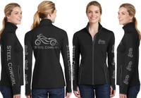 Black Wicking Thumbhole Full Zip Jacket with Reflective Steel Cowgirl Graphics (Graphics are protected by copyright laws, unauthorized use is prohibited)