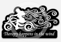 """3"""" Therapy Happens In The Wind Motorcycle Decal / Sticker by Steel Cowgirl (Graphics are protected by copyright laws, unauthorized use is prohibited)"""
