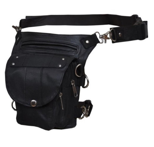 Concealed Carry Genuine Black Leather Thigh Bag w/ Belt AND Clip