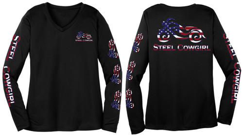 American Flag Performance Wicking V-Neck  Motorcycle Shirt   (graphics are protected by copyright laws, unauthorized use is prohibited)