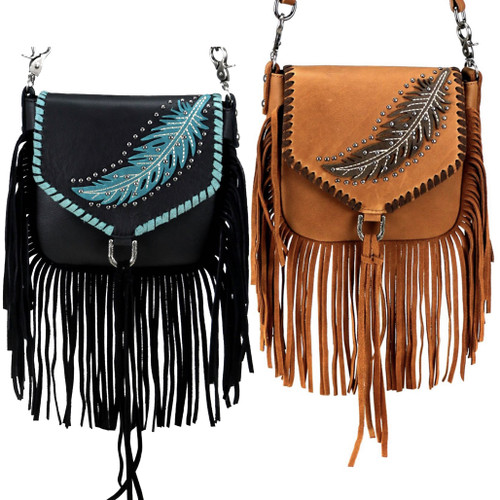 Feather Design Genuine Leather Fringe Clip Bag