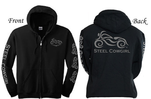 Ladies Motorcycle Hoodie with Classic Bike Reflective Graphics by Steel Cowgirl Graphics are protected by copyright laws, unauthorized use is prohibited.