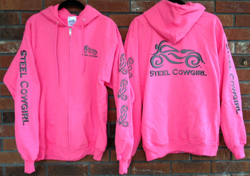 Ladies Motorcycle Hoodie with Classic Bike Reflective Graphics by Steel Cowgirl