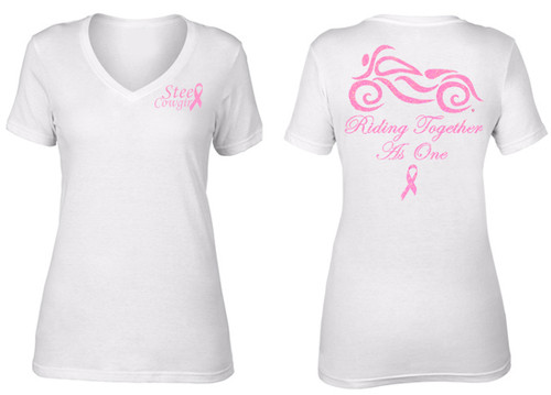 """Riding Together As One"" Breast Cancer White Motorcycle V-Neck T-Shirt by Steel Cowgirl (graphics are protected by copyright laws, unauthorized use is prohibited)"