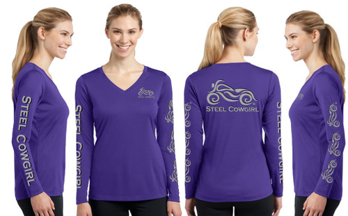 Long Sleeve Purple V-Neck Reflective Graphics Wicking Motorcycle Shirt by Steel Cowgirl (Graphics are protected by Copyright laws, unauthorized use is prohibited)