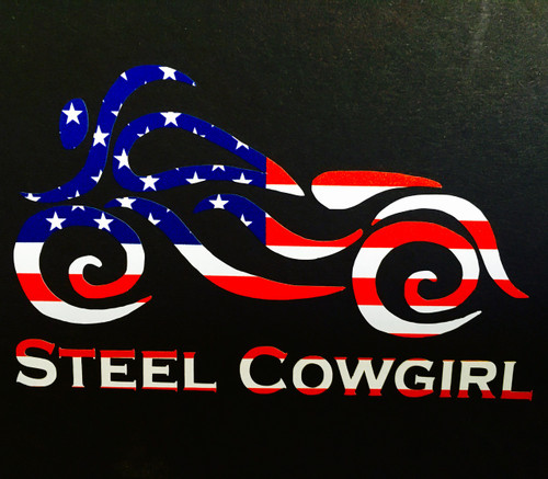 "5.5"" American Flag Motorcycle Window Decal / Sticker by Steel Cowgirl (graphics are protected by copyright laws, unauthorized use is prohibited)"