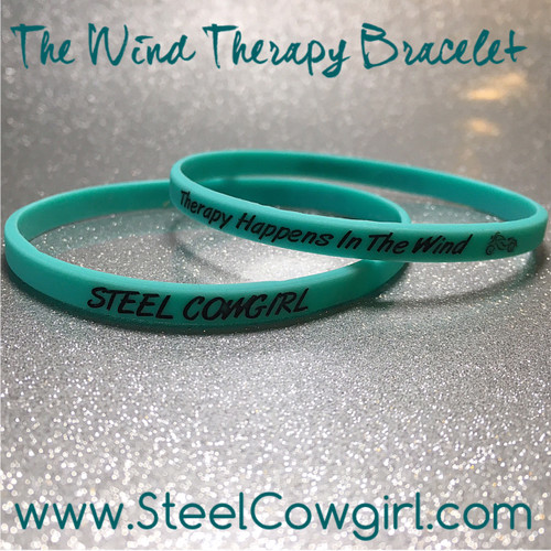 The Wind Therapy Motorcycle Bracelet in seafoam by Steel Cowgirl  (Wording is protected by Trademark and Graphics are protected by Copyright, unauthorized use is prohibited)