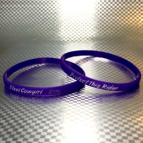 Protect This Rider Silicone Purple Steel Cowgirl Motorcycle Bracelet armband  (Wording is protected by Trademark and Graphics are protected by Copyright, unauthorized use is prohibited)