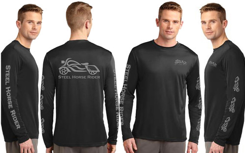 Steel Horse Rider Mens Black Performance Wicking REFLECTIVE Long Sleeve Motorcycle Shirt (graphics are protected by copyright laws, unauthorized  use is prohibited)