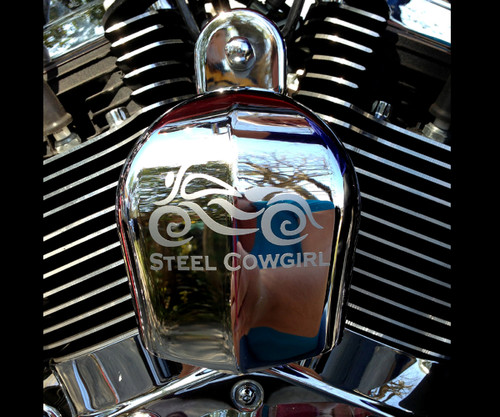 "3"" Steel Cowgirl ETCHED Window Decal / Sticker  (graphics are protected by copyright laws, unauthorized use is prohibited)"