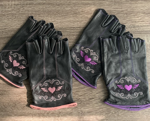 Winged Heart Genuine Leather Embroidered Fingerless Gloves