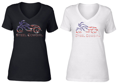 FRONT GRAPHIC Sparkling Crystal Steel Cowgirl American Flag Motorcycle Short Sleeve V-Neck T-Shirt (Graphics are protected by copyright laws, unauthorized use is prohibited)