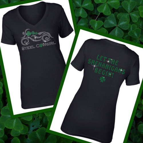 """""""Let The Shenanigans Begin"""" Sparkling Crystal Irish Green Short Sleeve V-Neck (Graphics are protected by copyright laws, unauthorized use is prohibited"""