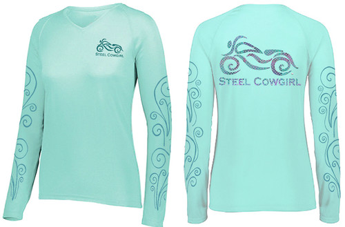 Seafoam Wicking Mermaid Motorcycle Shirt by Steel Cowgirl (Graphics are protected by copyright laws, unauthorized use is prohibited)