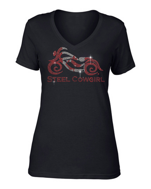 Sparkling Crystal Canadian Flag Short Sleeve V-Neck Motorcycle T-Shirt by Steel Cowgirl (Graphics are protected by copyright laws, unauthorized use is prohibited)
