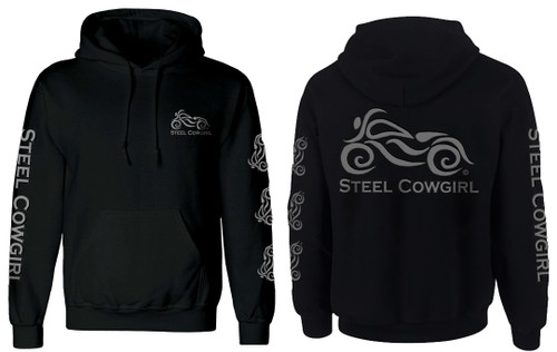 Black PULL-OVER  Hoodie w/ Reflective Steel Cowgirl Graphics (Graphics are protected by copyright laws, unauthorized use is prohibited)