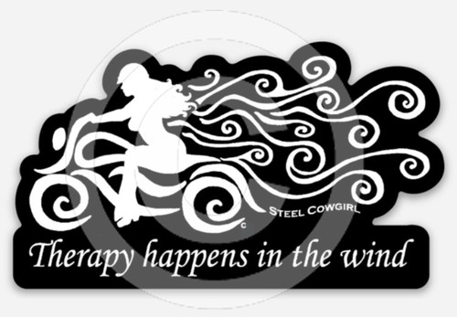 "3"" Therapy Happens In The Wind Motorcycle Decal / Sticker by Steel Cowgirl (Graphics are protected by copyright laws, unauthorized use is prohibited)"