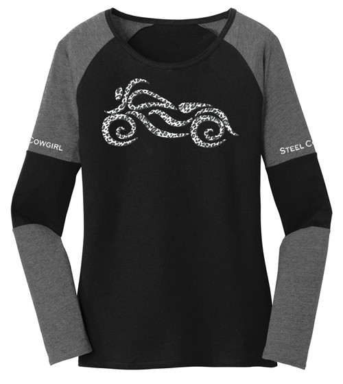 Snow Leopard Long Sleeve Color Black Raglan Shirt by Steel Cowgirl * Graphics are protected by copyright laws, unauthorized use is prohibited.
