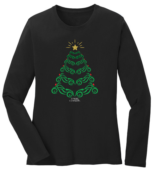 Motorcycle Christmas Tree T-Shirt by Steel Cowgirl * GRAPHIC IS PROTECTED BY COPYRIGHT LAWS, UNAUTHORIZED USE IS PROHIBITED