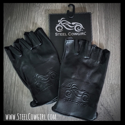 Steel Cowgirl Embossed Genuine Leather Fingerless Motorcycle Gloves * Graphics are protected by copyright laws, unauthorized use is prohibited.
