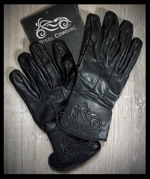 Steel Cowgirl Embossed Genuine Leather Full Finger Motorcycle Gloves * Graphics are protected by copyright laws, unauthorized use is prohibited.