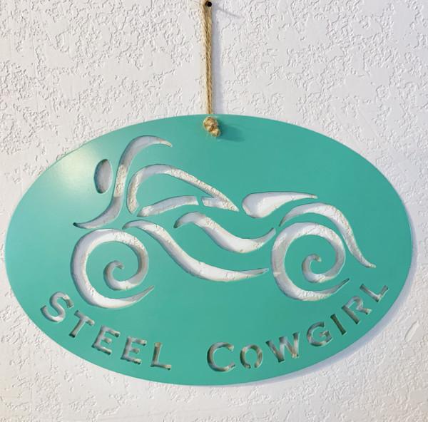 """12"""" Metal Aqua Steel Cowgirl Wall Sign"""
