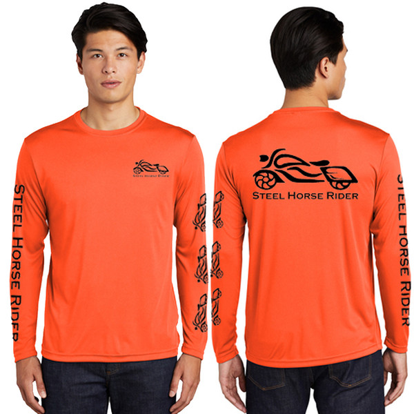 Steel Horse Rider Men's Safety Orange Long Sleeve Wicking Shirt (Graphics protected by copyright laws, unauthorized use is prohibited)
