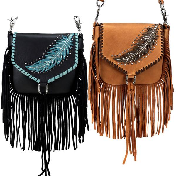 Feather Design Genuine Leather Fringe Clip Bag
