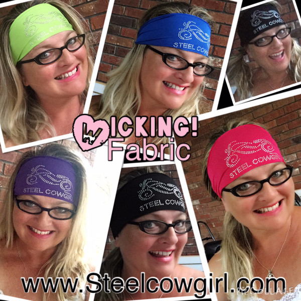 Performance Wicking Fabric Crystal Motorcycle Headwrap by Steel Cowgirl (graphics are protected by copyright laws, unauthorized use is prohibited)