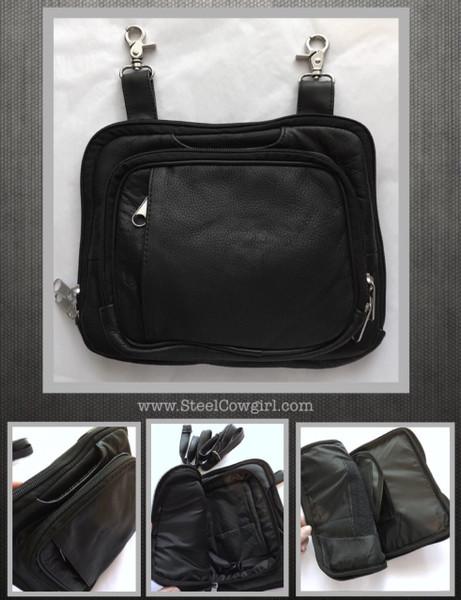 Concealed Carry Black Genuine Leather Hip Clip Bag Holster