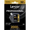 Lexar 32GB Professional 2000x UHS-II SDHC Memory Card with SD UHS-II Reader (U3, Class 10)